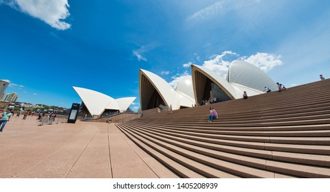 SYDNEY - OCTOBER 2015: Panoramic view of Sydney Opera House on a sunny day. The city attracts 20 million people annually.