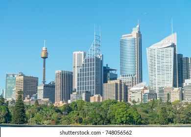 SYDNEY - OCTOBER 2015: Skyscrapers of Sydney. Sydney attracts 15 million people annually.