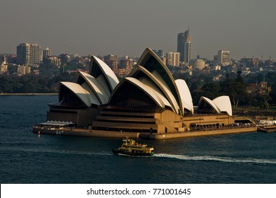 SYDNEY - OCTOBER 25, 2012: General view of the Iconic Sydney Opera House from the Sydney Harbor Bridge.