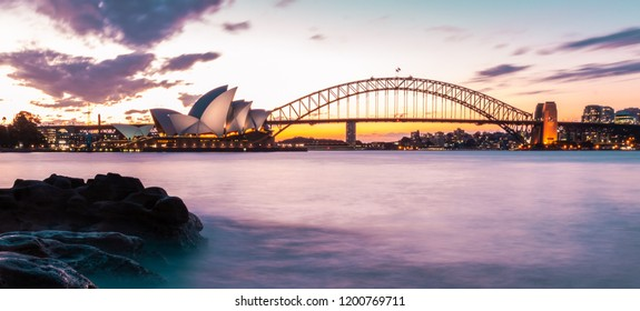 Sydney Opera House and Sydney Harbour Bridge,Australia on 2 September 2018
