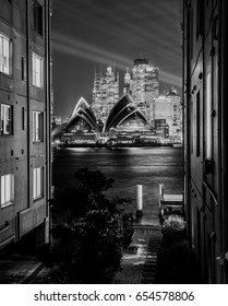 Sydney Opera house nightlight, Australia. June 4, 2017. The illuminated with light design imagery, during the Vivid Sydney. Black and white photo.