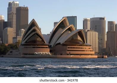 Sydney Opera House - With Sydney Skyline Behind It