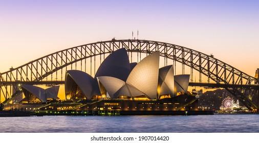 Sydney Opera House at sunset, Australia, on July 18th, 2018.