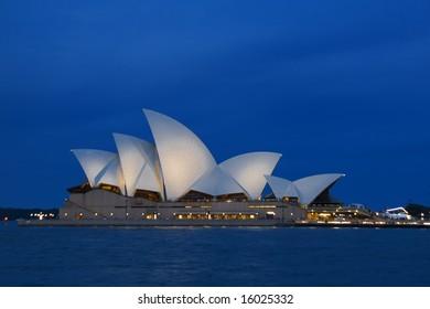 Sydney Opera House taken across Circular Quay from The Rocks at night