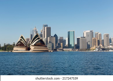 Sydney Skyline across the harbour from North Sydney, with city buildings and Opera House