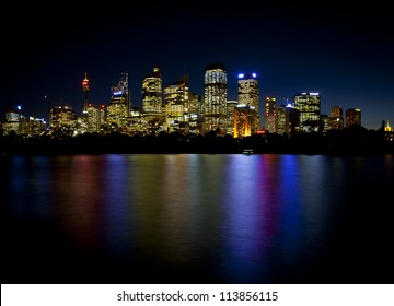 Sydney Skyline of the central business district with a reflections in the bay waters