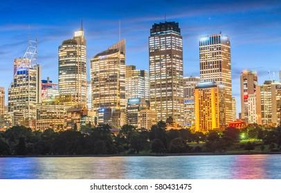 Sydney skyline on a beautiful night - New South Wales, Australia.
