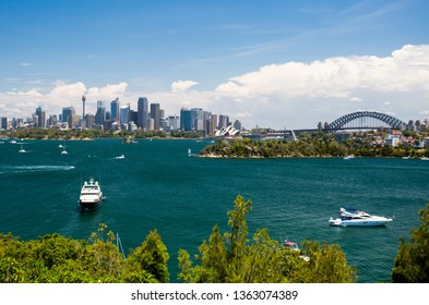 The Sydney skyline seeen from Taronga Zoo on a clear summer's day in Sydney, Australia