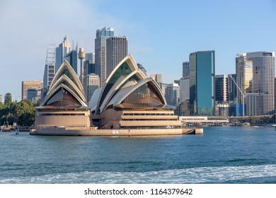SYDNEY-AUG,17:The opera house near Darling harbors king wharf with dock ship along the pier with skyscrape building where is the well known place for tourist in new south wales. AUSTRALIA AUG,17 2018