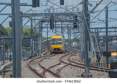 SYDNEY,AUSTRALIA, December, 2014 : A 'Waratah' train approaches Central Station with a local service.