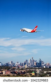 SYDNEY,AUSTRALIA - JANUARY 20,2018: A QANTAS Airbus A380 climbs away from the airport on an international flight.