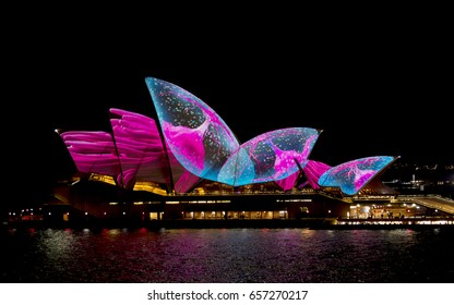 SYDNEY,AUSTRALIA - JUNE 07, 2017 Sydney Opera House displaying various coloured designs during the Vivid Lights which is a annual public event. editorial use.