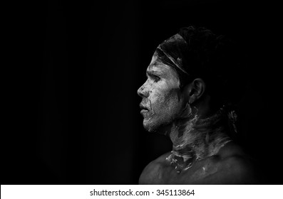 SYDNEY,AUSTRALIA - NOVEMBER 22,2015: An indigenous dancer waits his turn in a competition during the Homeground festival - a major annual celebration of aboriginal culture.