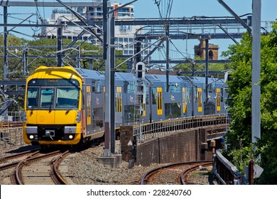 SYDNEY,AUSTRALIA - NOVEMBER2,2014: A 'Waratah' train approaches Central Station with a local service.