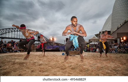 SYDNEY,AUSTRALIA - OCTOBER 8,2016: Aboriginal dancers perform during the Homeground festival (some motion blur). Homeground is Australia's biggest celebration of indigenous culture.
