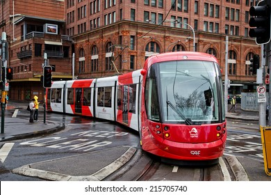 SYDNEY,AUSTRALIA - SEPTEMBER 7,2014: A tram on the light rail network nears Central Station. A $1.6B expansion of the network is currently under way.