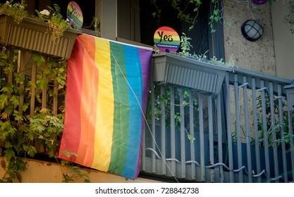 Sydney,Australia-September 2017: rainbow flag hanging in house for same sex voting in Sydney.