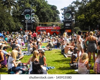 Sydney-January 7 : People enjoy music by DJ at Hyde park  for Sydney festival  in  Sydney,Australia on January 7,2012. Sydney festival start about January every year .