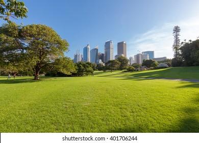 Sydney's Hyde Park und entfernte Gebäude