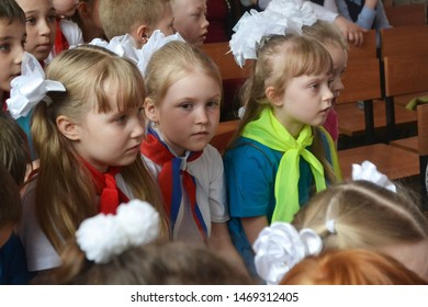 Syktyvkar, Russia - May, 2017. Children's Delight audience. Concert audience in motion. Children's spectators