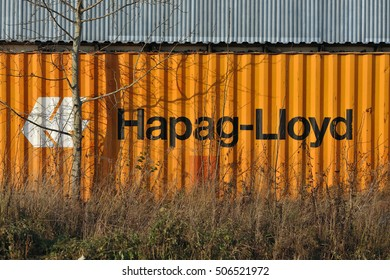 SYKTYVKAR, RUSSIA - OCTOBER 29, 2016: The container shipping company Hapag-Lloyd used as fence.