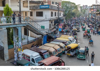 SYLHET, BANGLADESH - 9 APRIL, 2018: A street in downtown Sylhet bustles with traffic and pedestrians.