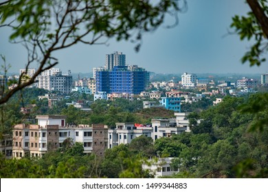 SYLHET, BANGLADESH - APRIL 12, 2018: A view of development from a hill in northern Sylhet city.