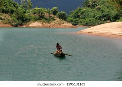 Sylhet, Bangladesh-September 23, 2018: Lalakhal,which is another top tourist attraction at Jaintapur in Sylhet , is covered with hills, natural forests, tea gardens, and rivers under the Jainta Hill.