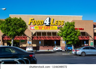 Sylmar, CA/USA. July 31,2018. Food 4 Less grocery storefront. Food 4 Less is a national warehouse store grocery chain, currently owned by Kroger.