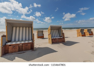 Sylt - Close-up to famous Sylt Beach Chairs, Schleswig-Holstein, Germany, Sylt, 13.06.2018