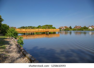 Sylt - Close-Up to small pond at Wenningstedt, where the Bridge has been replaced recently, Schleswig-Holstein, Germany, Sylt, 05.06.2018