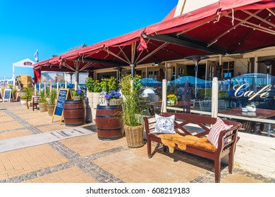 SYLT ISLAND, GERMANY - SEP 5, 2016: restaurant on coastal promenade in Wenningstedt village on Sylt island, Germany.