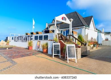 SYLT ISLAND, GERMANY - SEP 5, 2016: restaurant on coastal promenade in Wenningstedt village on Sylt island, Germany.