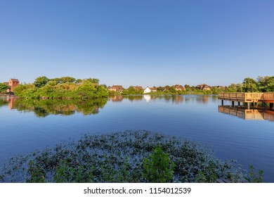 Sylt - Panorama-View at pond in Wenningstedt with beautiful reflections on the water, Schleswig-Holstein, Germany, Sylt, 05.06.2018