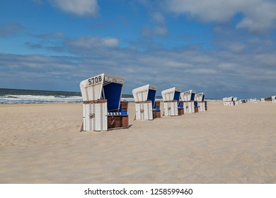 Sylt - View to Beach Chairs at Sylt Rantum Beach, Schleswig-Holstein, Germany, Sylt, 11.06.2018