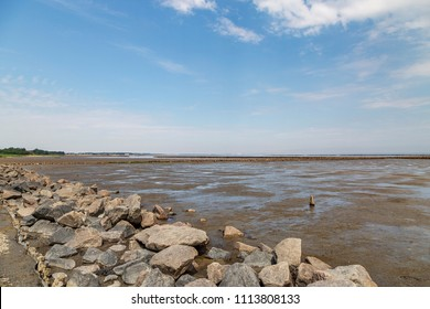 Sylt - View to heavy rocks for Coastline protection at Waddensea, Sylt,  Schleswig-Holstein, Germany, Sylt, 09.06.2018