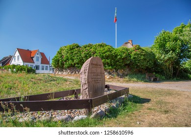 Sylt - View to Hermann Schmidt - Memorial in Wenningstedt( english: The poet and preserver of the Frisian language to commemorate), Schleswig-Holstein, Germany, Sylt, 06.06.2018