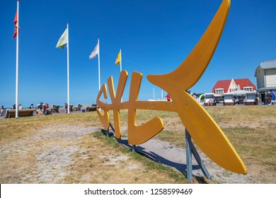 Sylt - View to the Sylt Logo at Wenningstedt Beach Promenade,Schleswig-Holstein, Germany, Sylt, 06.06.2018