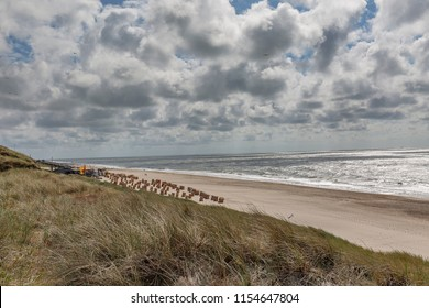 Sylt - View from Wenningstedt Dunes towards Wenningstedt Beach with the the huge new Stairs, Schleswig-Holstein, Germany, Sylt, 13.06.2018