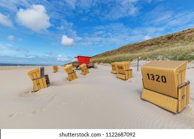 Sylt - View to Wennnigstedt Dunes and beach chairs , Schleswig-Holstein, Germany, Sylt, 13.06.2018