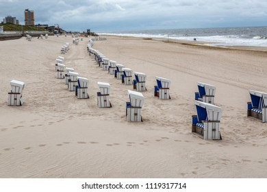 Sylt - View to Westerland Beach Promenade with abandoned Beach chairs, Schleswig-Holstein, Germany, Sylt, 12.06.2018
