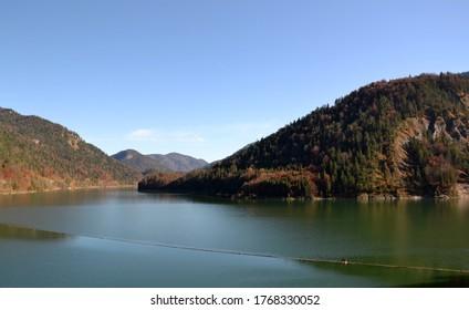 the sylvensteinspeicher lake in germany, bavaria