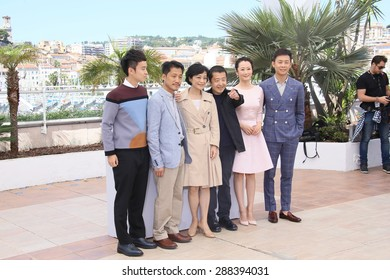 Sylvia Chang, director Jia Zhang Ke, Zhao Tao, Zhang Yi attend a photocall for 'Shan He Gu Ren' ('Mountains May Depart') during the 68th  Cannes Film Festival on May 20, 2015 in Cannes, France.
