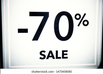 The symbol is 70 percent, on a white background. Seasonal discounts in stores, sale, Black Friday and shopping concept.