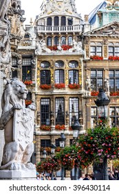 Symbol of Belgium -- Guardian lion holding the Coat of Arms at the Grand Place (Grote Markt ) in Brussels, Belgium