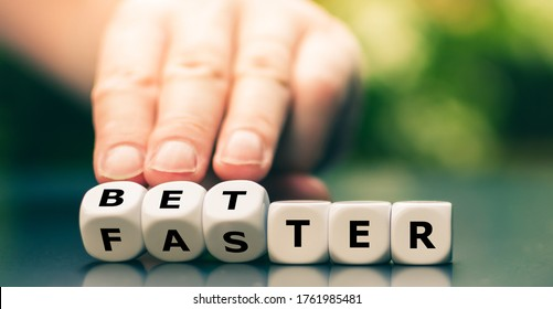 """Symbol for better work instead of faster work. Hand turns dice and changes the word """"faster"""" to """"better""""."""