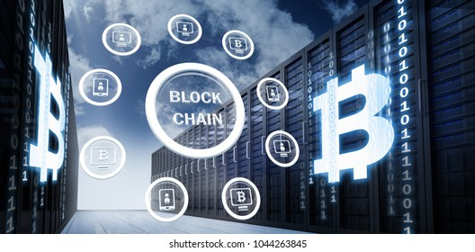 Symbol of bit coin digital crypto currency with various icons against server racks against sky and cloud