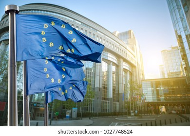Symbol bitcoin on the blue flag, Regulation of the crypto currency by the European Union
