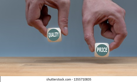 "Symbol for choosing quality instead of a cheap price. Two Hands hold two dice with the words ""quality"" and ""price"". The dice with the label ""quality"" is chosen."
