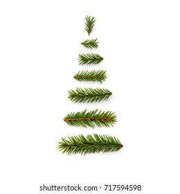 symbol Christmas tree from a fir branches on white background